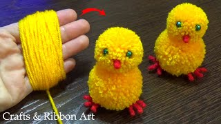 Super Easy Pom Pom Chicken Making Idea with Fingers - DIY Pom Pom Chick - How to Make Yarn Chicken