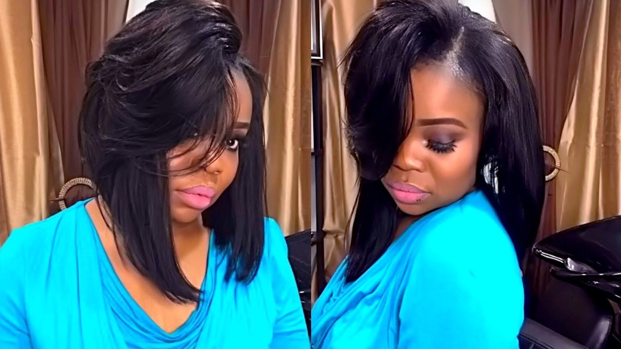 full sew in weave simple bob with leave out start to finish cut and style