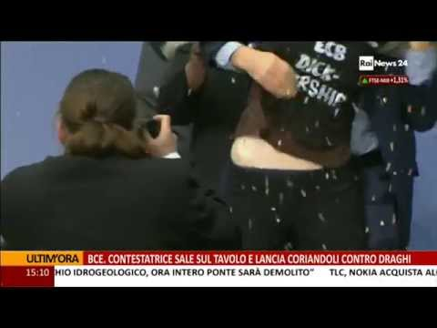 End the ECB DICK-TATORSHIP - Draghi attacked by protester - BCE