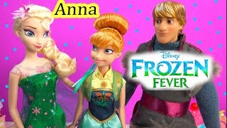 Frozen Fever Princess Anna Queen Elsa  Birthday Party Doll From New Disney Movie Unboxing Review