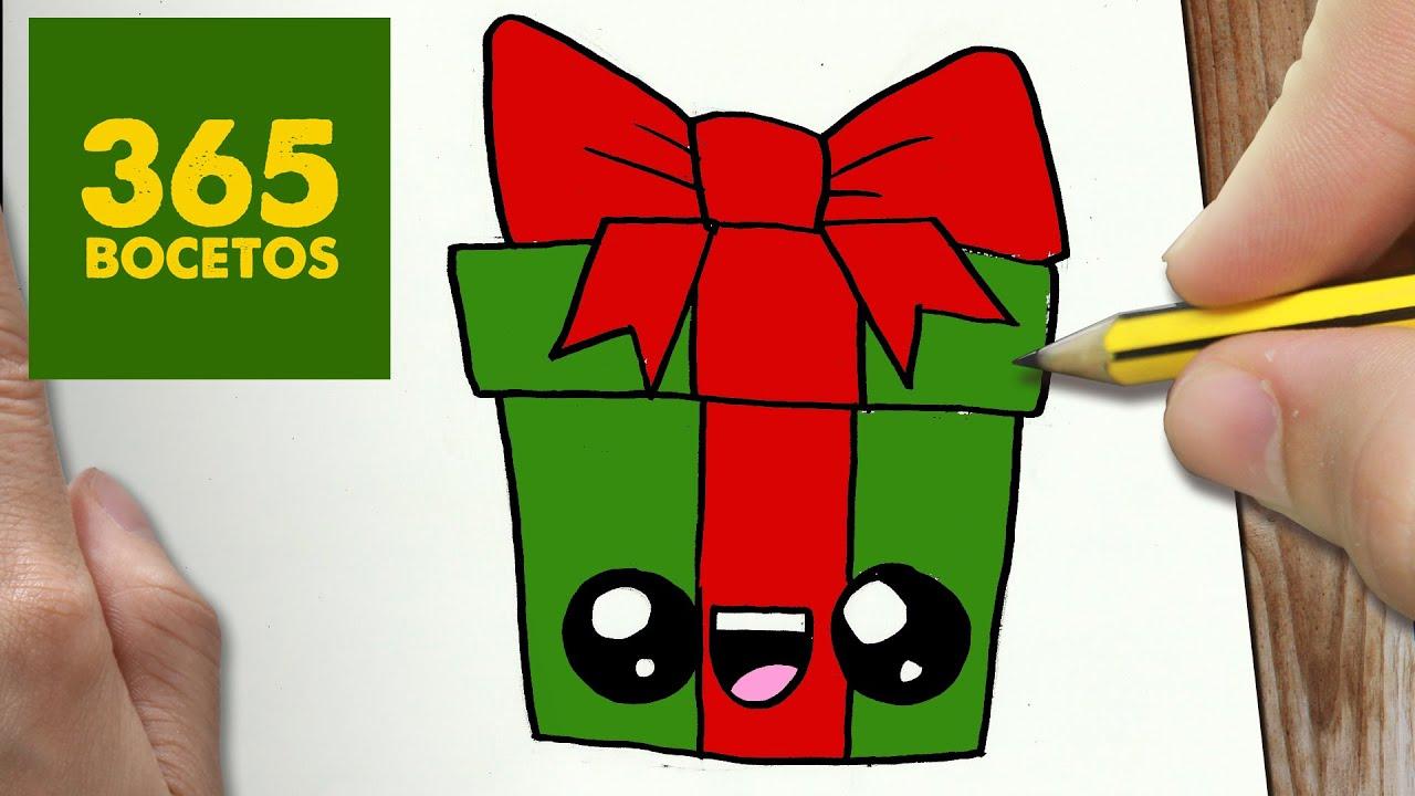 Como dibujar un regalo para navidad paso a paso dibujos - Imagenes flores de navidad ...