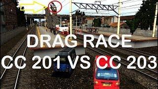 Drag Race Lokomotif CC 201 Vs CC 203   Trainz Simulator Indonesia