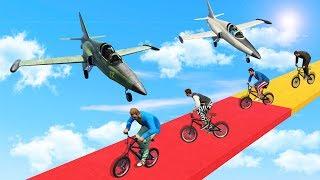 БЕГУНЫ НА BMX ПРОТИВ САМОЛЕТОВ НА БЕЗУМНОЙ ТРОПЕ СМЕРТИ! (GTA 5 Смешные моменты)