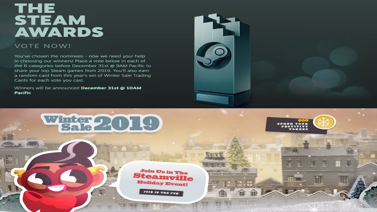 The Steam Awards 2019 Badge And Winter Steam Sale 2019 Event Badges Youtube