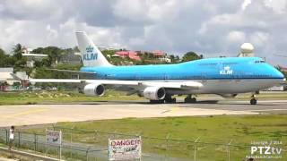 KLM 747 Taxi and Takeoff from SXM St. Maarten on 9/16/2016