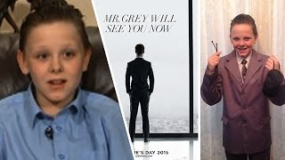 British Kid Dresses Up As Christian Grey!