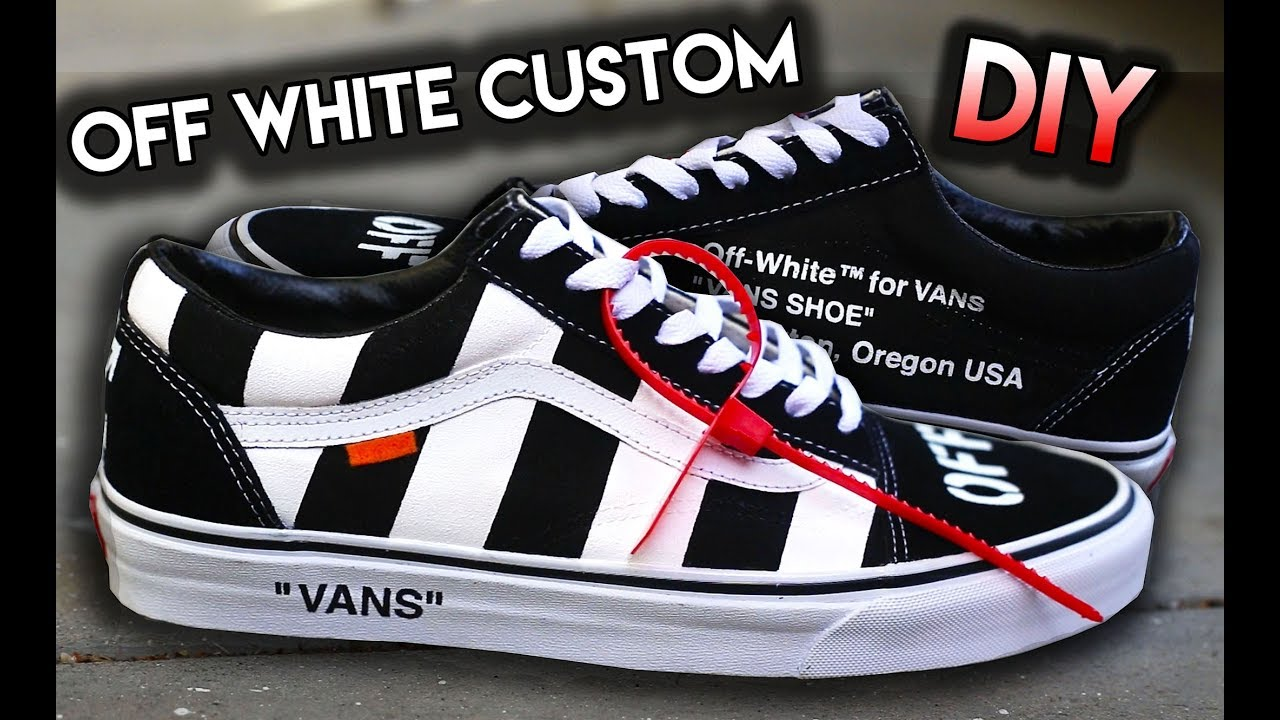 72c965755d HOW TO  OFF WHITE INSPIRED VANS OLD SKOOL CUSTOM SHOES!! - YouTube