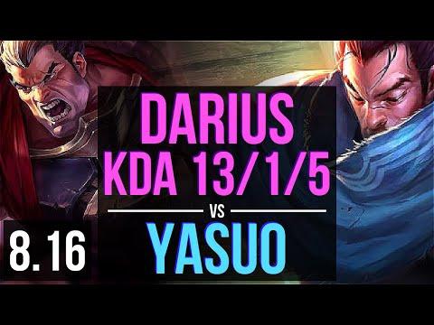 DARIUS Vs YASUO (TOP) ~ KDA 13/1/5, Godlike ~ EUW Master ~ Patch 8.16