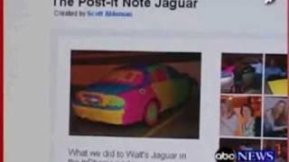 The Original Post-it Note Car 14000 sticky notes on a Jaguar