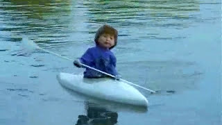 RC model rowing boat Paddelboot Sam RC Modellbau mit den Puppen Sam