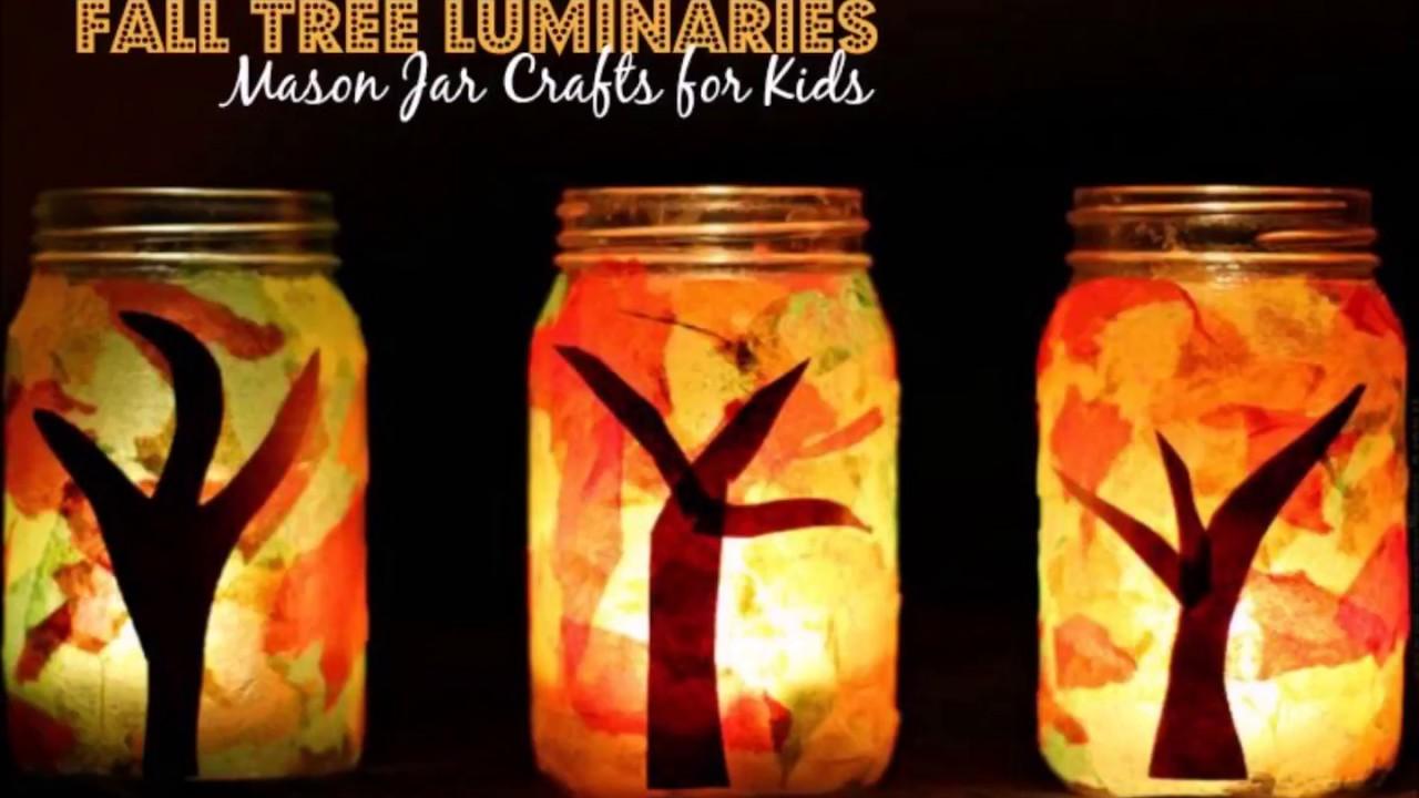 Fall Luminaries Mason Jar Craft Easy Diy Lanterns Youtube