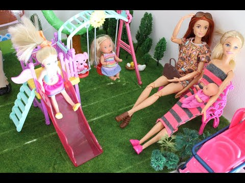 Barbie Doll Takes Kids To The Playground / Mini Attractive Park Tia Tia
