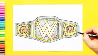 How to draw and color WWE Championship Belt