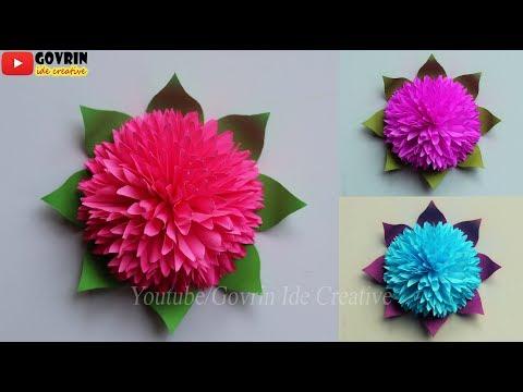 Paper Flowers Wall Decorations - Cara Membuat Bunga Hias Cantik dari Kertas Origami | Dekorasi Bunga