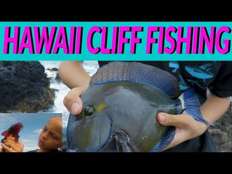 HAWAII Cliff Fishing - HOW To CATCH When FISHING Off Hawaii's Rock And CLIFFs - Kids Fishing -