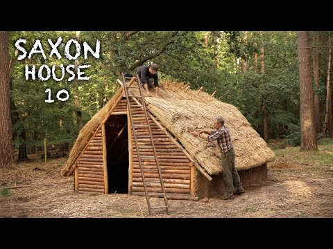 Building a Log House in the Woods: Bushcraft Saxon House (PART 10)