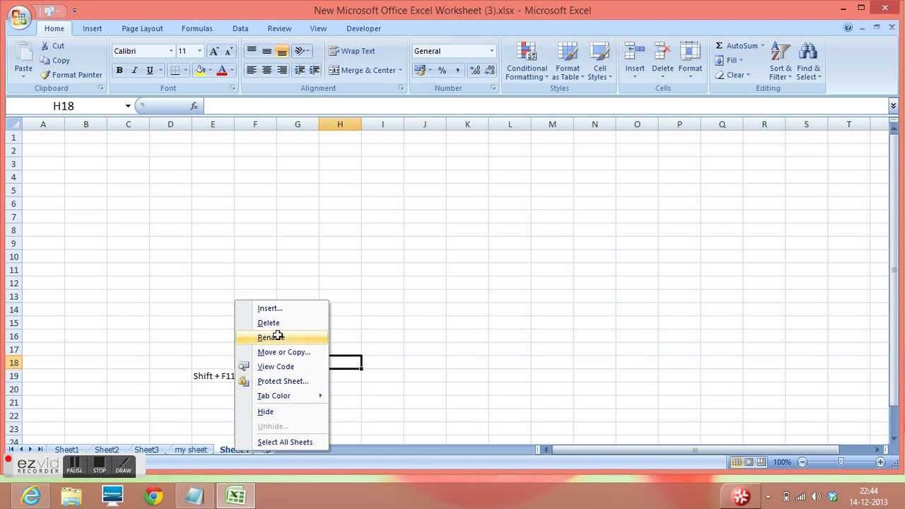 Excel 2010 Insert Sheet Rename Sheet and Coloring of Sheet Tab – Insert Worksheet Excel