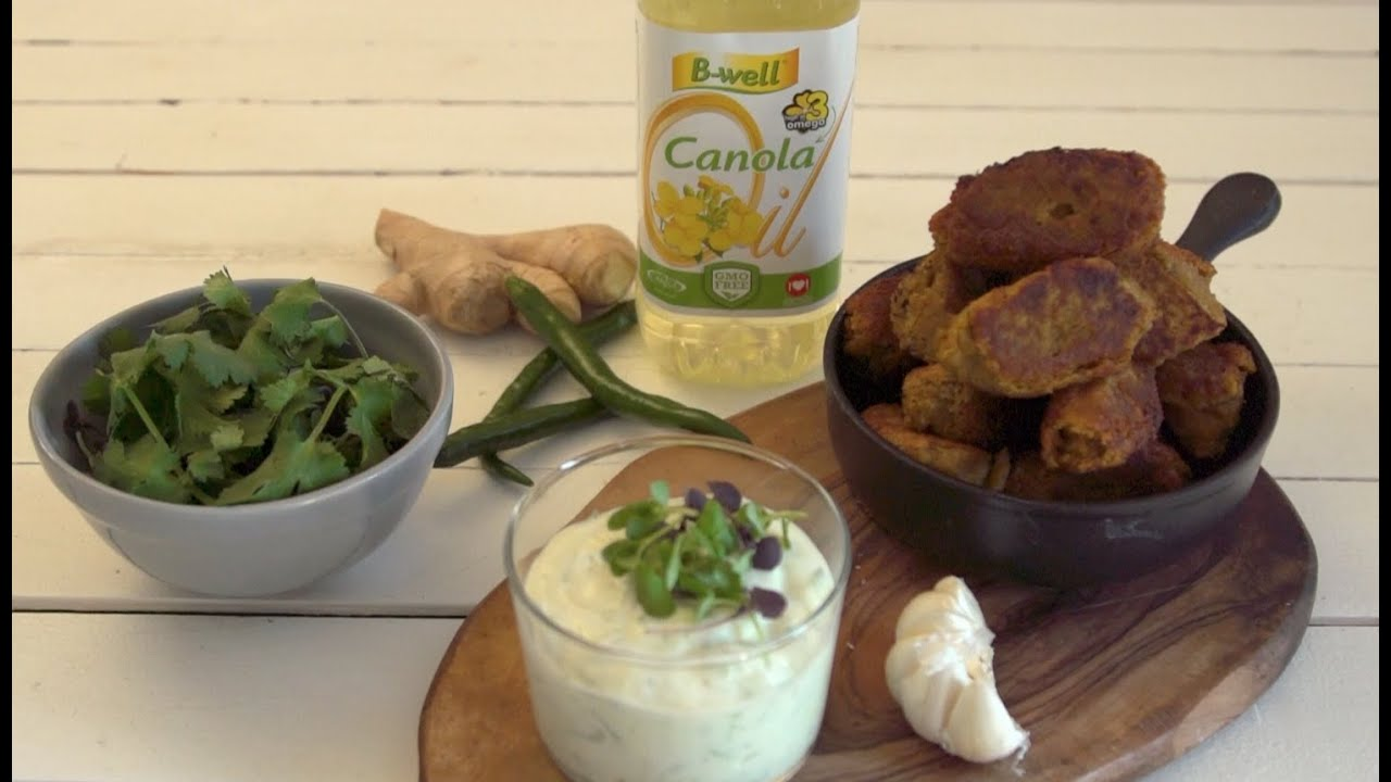 B Well Falafels With Lemon Cucumber Yoghurt Presenter
