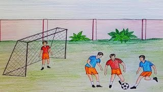 How to draw  scenery of playing football step by step