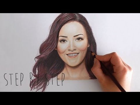 Step by Step | Drawing Mascha Feoktistova - Beautygloss with colored pencils | Emmy Kalia