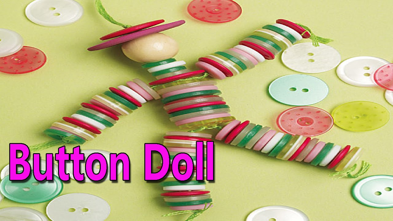 Hand made button doll best from waste material hand for Waste material hand work