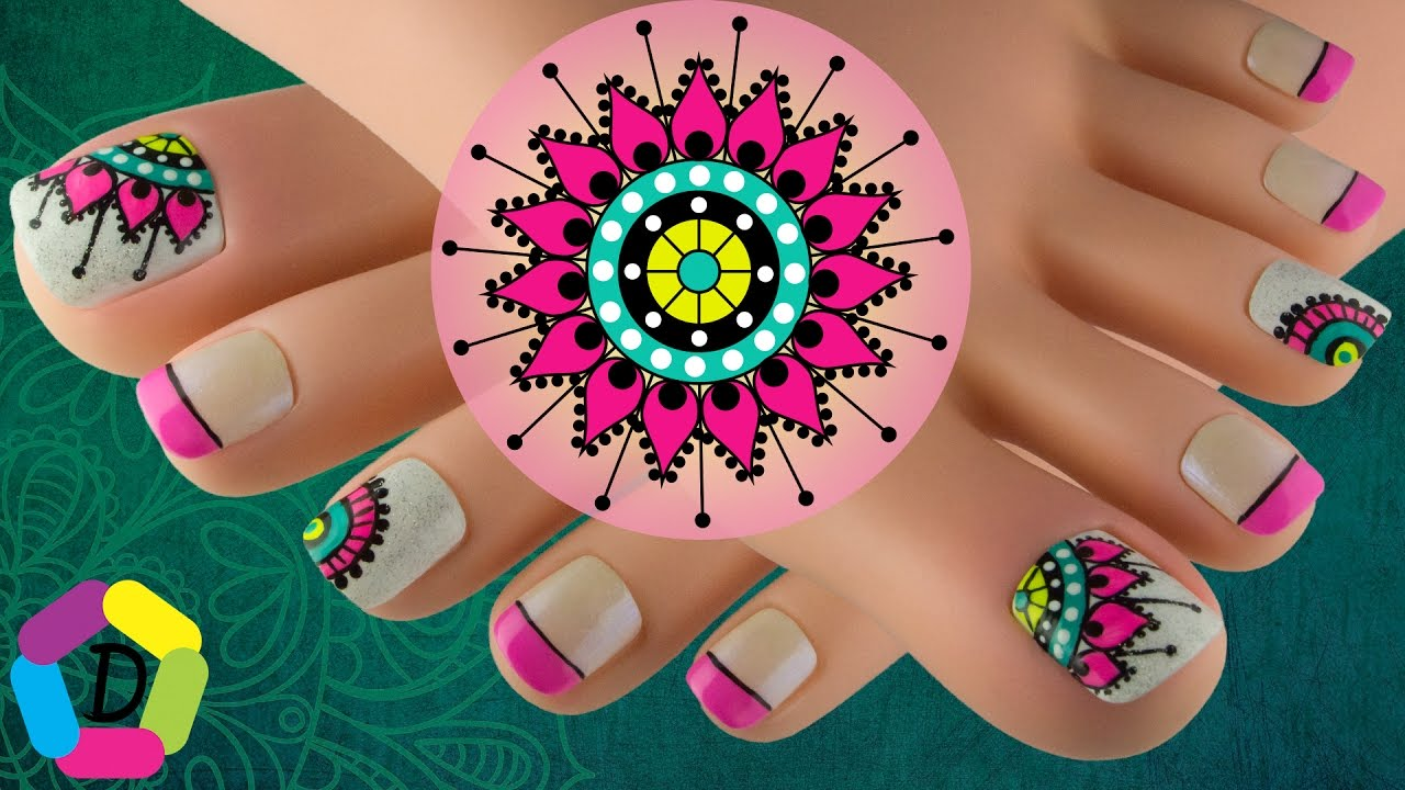 Mandala Toe Nail Art Design