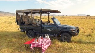 Breakfast on the Masai Mara during an Angama Mara luxury safari