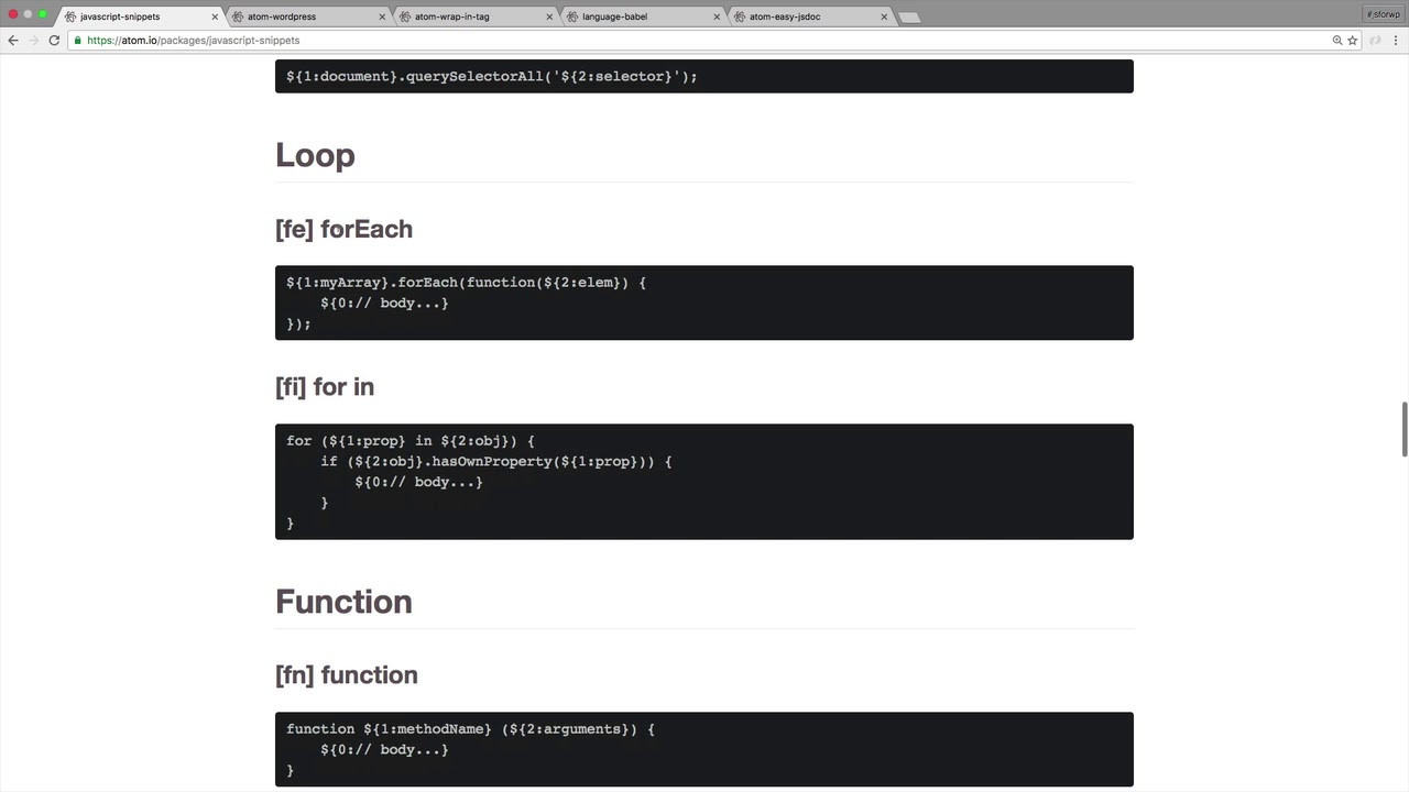 JavaScript Snippets – Atom Power User
