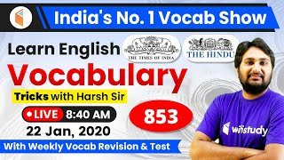 8:40 AM - The Times of India Vocabulary with Tricks (22 Jan, 2020) | Day #844