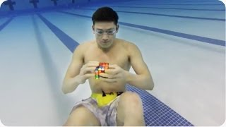 AMAZING Underwater Rubik's Cube | Solving 3 in 1 Minute!!