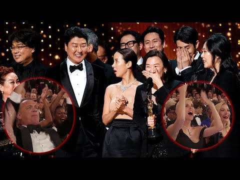 Tom Hanks Charlize Theron & More Chant for Parasite Winner&39;s Oscar Speech After Being Played Off