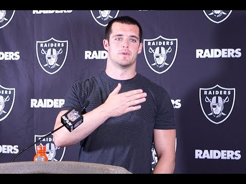Raiders' QB Carr reacts to Del Rio firing