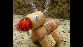 D.i.y Christmas Rudolph The Red Nose Reindeer Made Out Of Wine Corks How To!