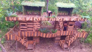 Unbelievable! Build Beautiful Three Story Twin Wood House Use Brick Wood By Talented Bushmen - 2