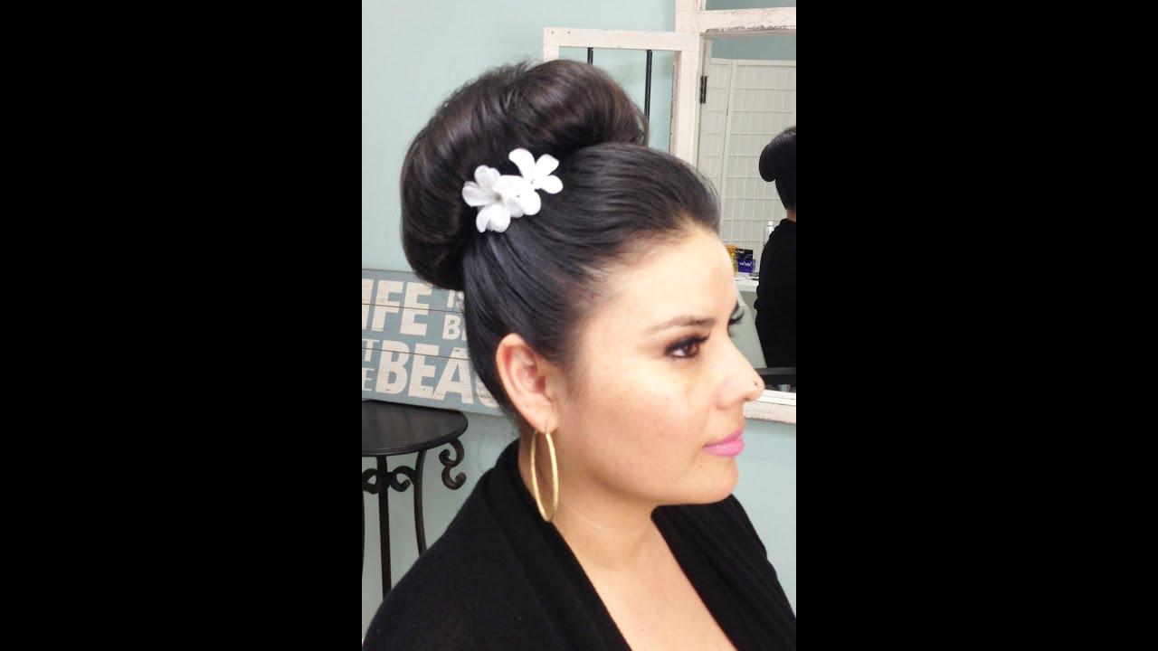 bridal hairstyling video - big bun