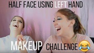 HALF FACE USING LEFT HAND MAKEUP CHALLENGE!