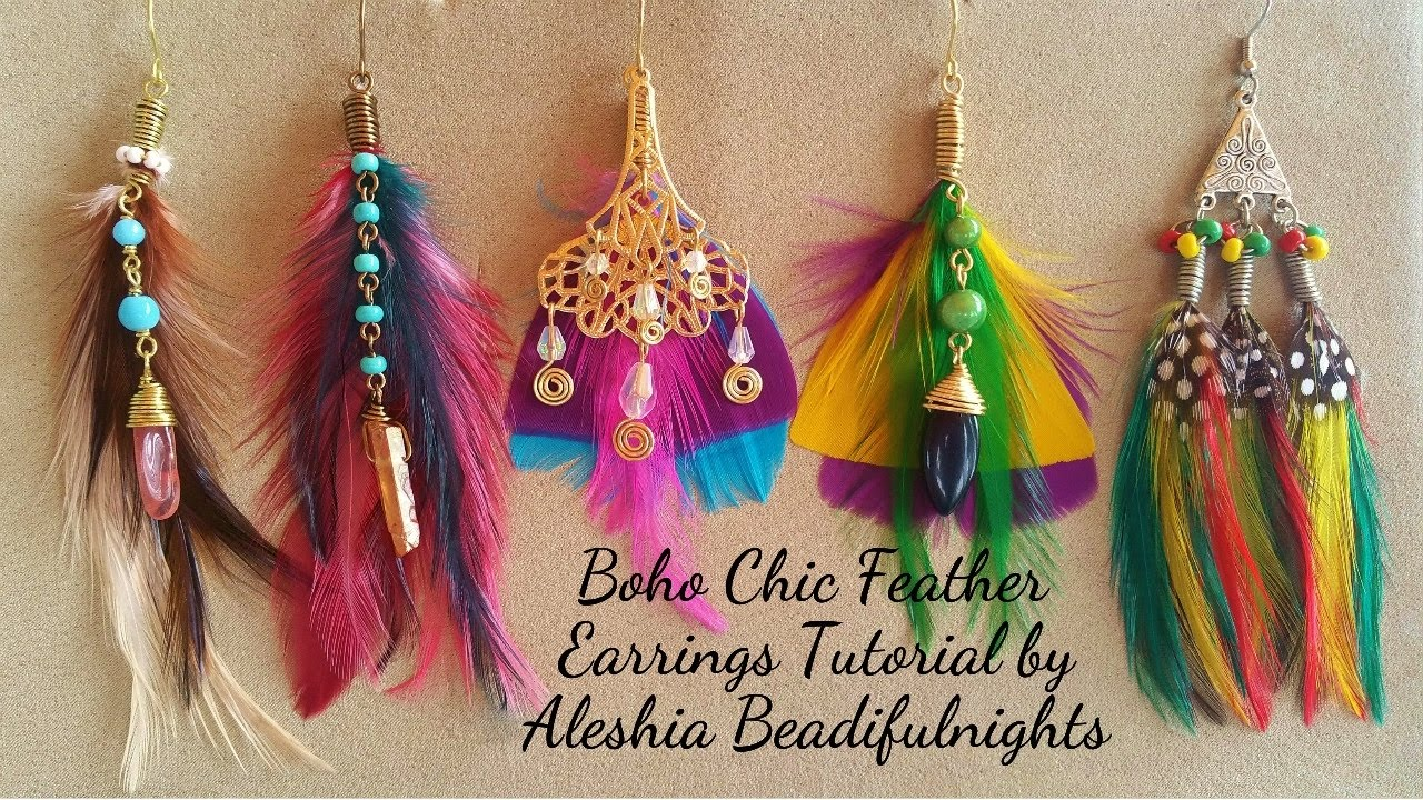 eac13684cad36f Boho Chic Feather Earrings Tutorial - YouTube