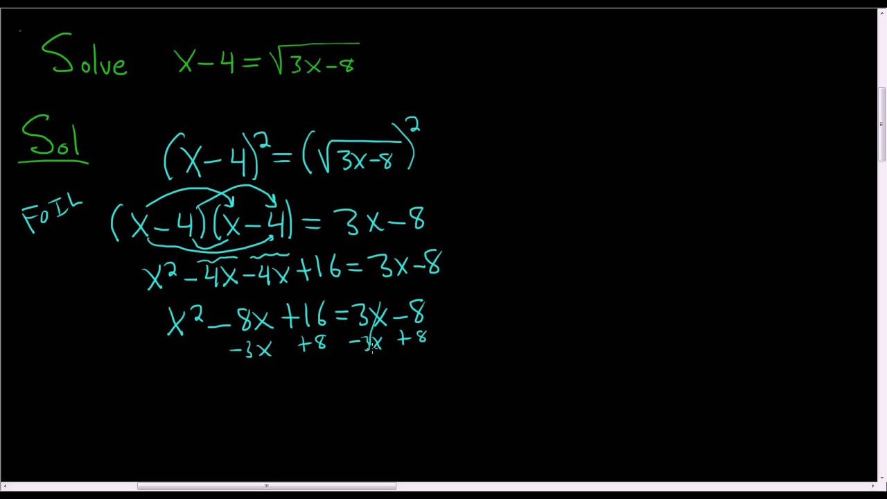 Solving An Equation With A Square Root X 4 Sqrt 3x 8
