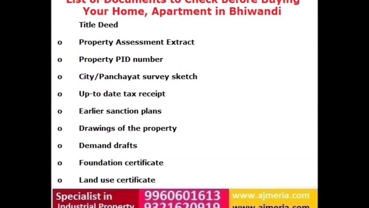 List Of Doents To Check Before Ing Your Home Apartment In Bhiwandi