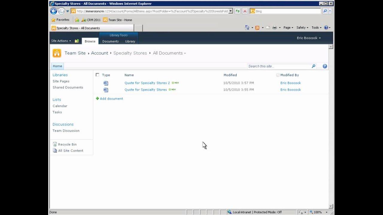 Microsoft Dynamics CRM - SharePoint Document Management