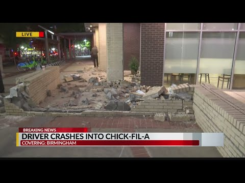 Driver crashes into downtown Birmingham Chick-Fil-A