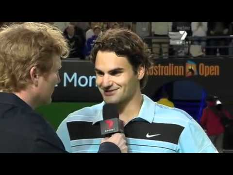 FUNNY Federer Interview after Australian Open Semifinal 2007