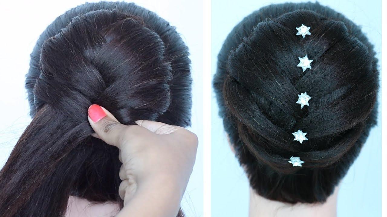 khajuri style juda hairstyle for gown, lehnga, party ...