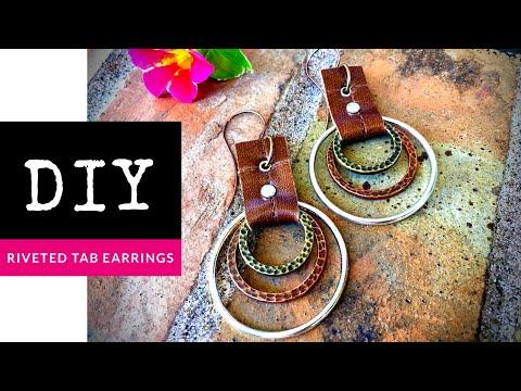 How To Make Riveted Leather Tab Mixed Metal Hoop Earrings
