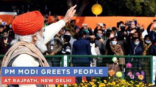 PM Modi greets people at Rajpath, New Delhi