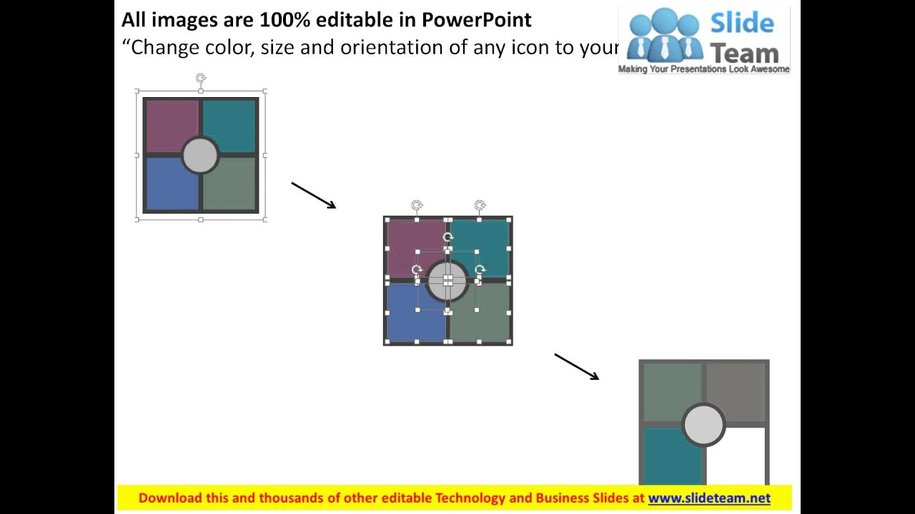 four staged quad chart for business data flat powerpoint design ...