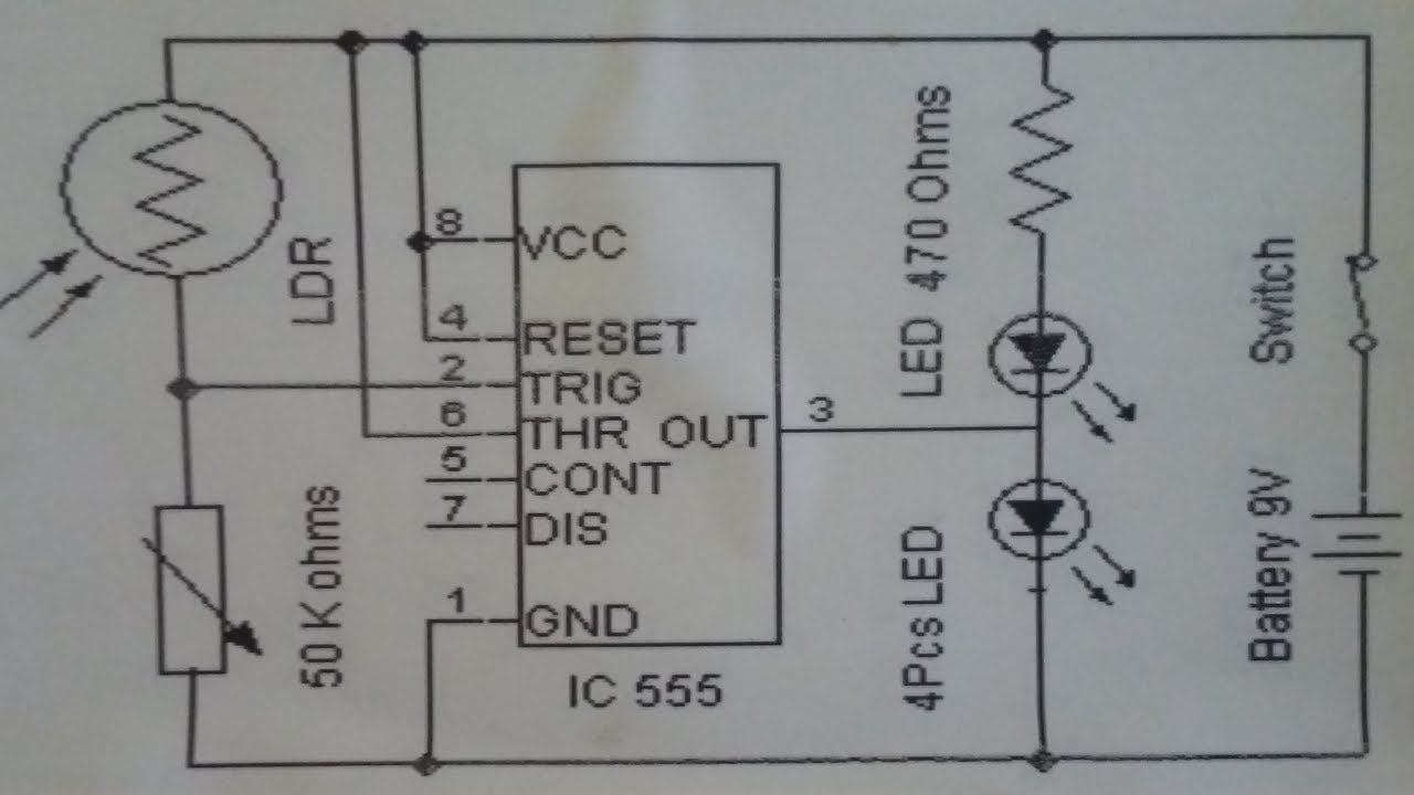automatic street light control system using 555 timer