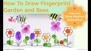 How To Draw Fingerprint Garden and  Bees with Ink Pad