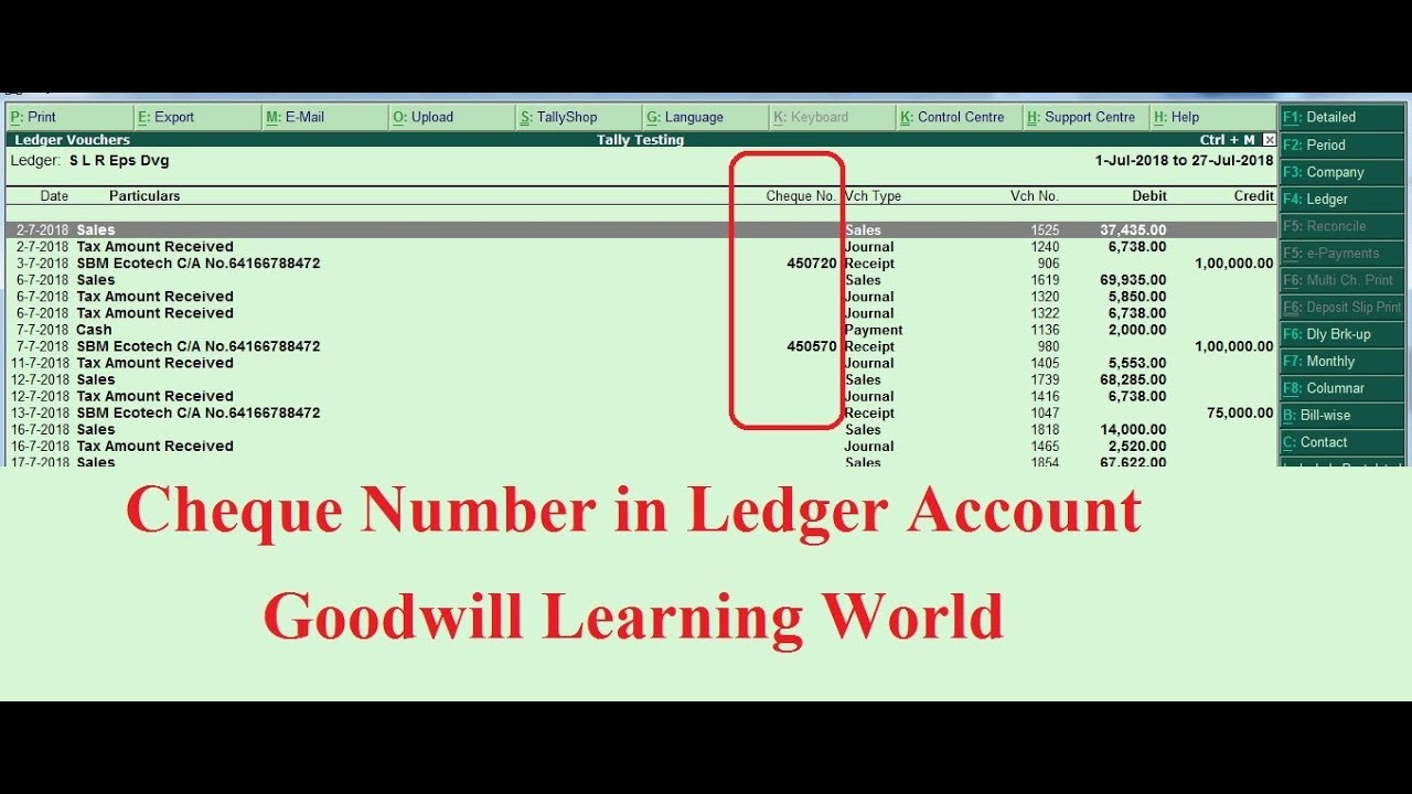Tally TDL to View Cheque Number in Party Ledger Account - Free Tally TDL  Download