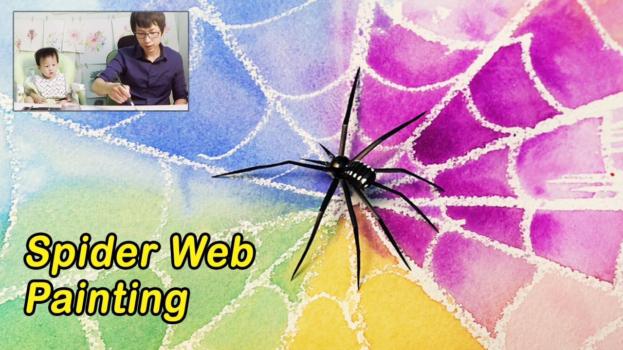 spider web art watercolor resist painting technique for kids youtube